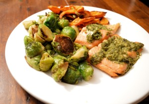Steelhead trout and brussels sprouts.