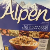 Healthy cereal: Alpen Muesli, No Sugar Added