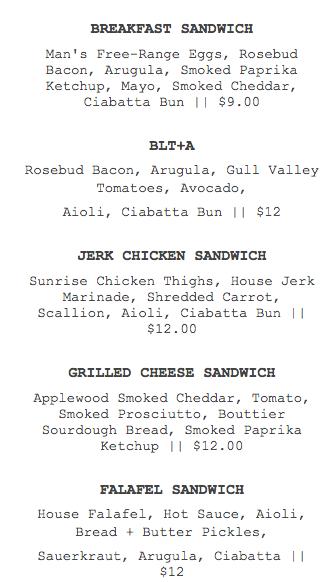 today's sandwich menu