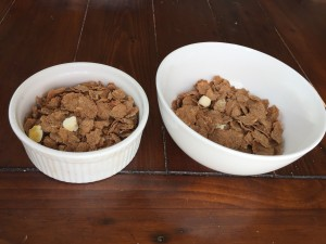 Which one has more cereal? If you said they're the same, you guessed it! They both contain 1 cup. Which one would be a more satisfying cup of cereal?