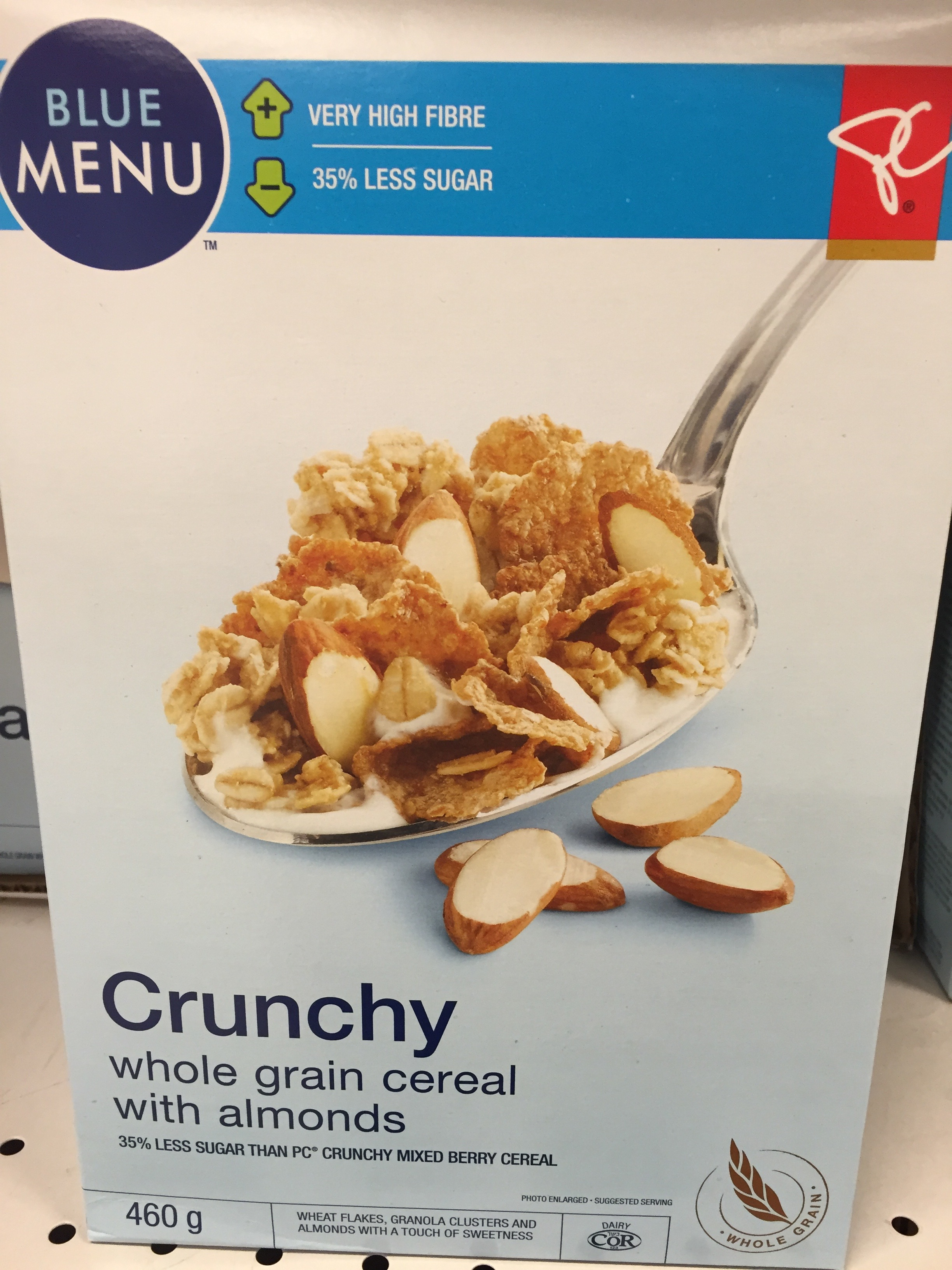 Healthy cereal: Blue Menu Crunchy Whole Grain Cereal with Almonds