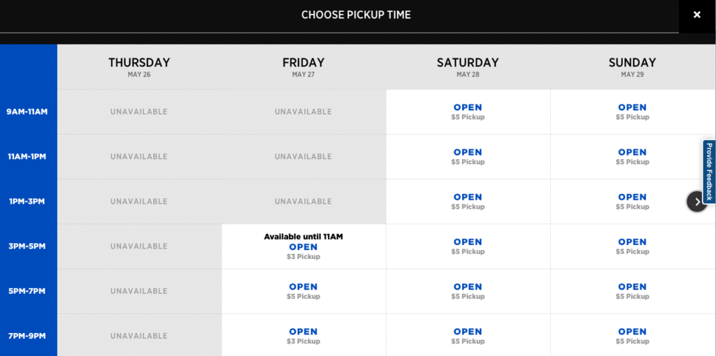 Click & Collect pickup times