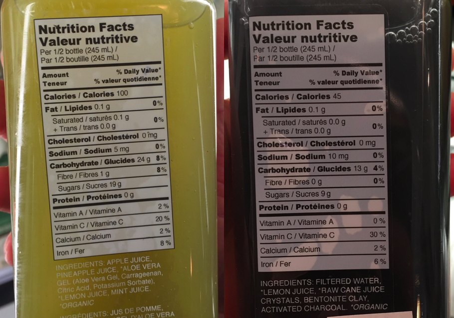 Nutrition facts for cold-pressed juice. Still sugar.