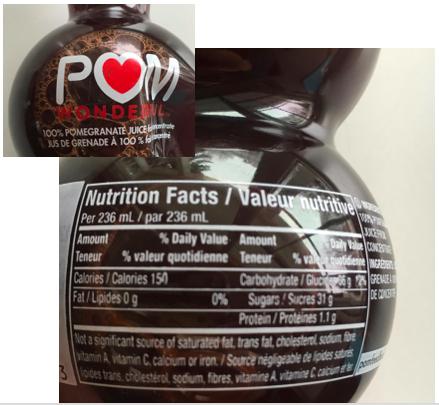 POM Wonderful juice. 62g sugar in the bottle. Not heart healthy.