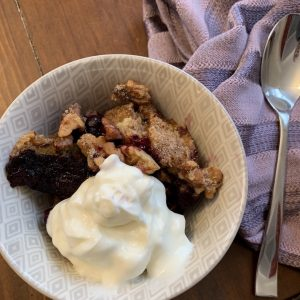 mixed berry cobbler with plain yogurt