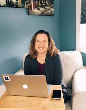 Author, Cheryl Strachan, working from home